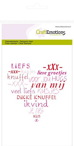 "CraftEmotions: Clear Stamp; hart ""veel liefs"""