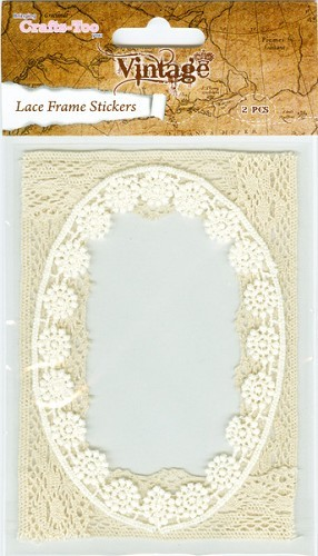 Crafts-Too: Vintage Selection; Lace Frame Sticker, Oval