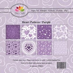 Dixi: Paper Pack 15 x 15; Heart Pattern, Purple