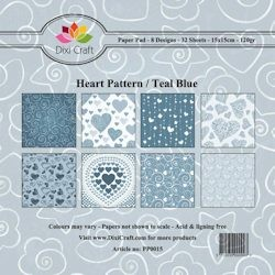 Dixi: Paper Pack 15 x 15; Heart Pattern, Blue