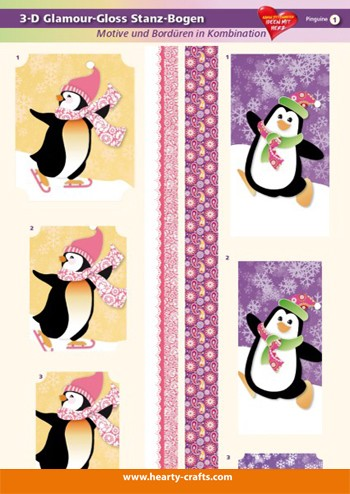 HC:3D-Glossy Die-cut sheets; Pinguins - Penguins- Manchot
