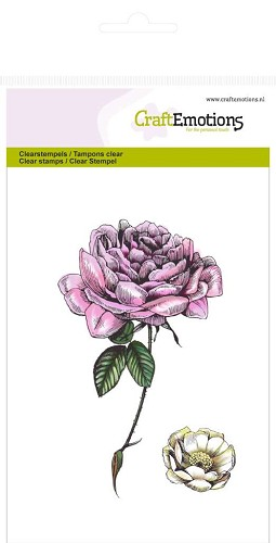 CraftEmotions: Clear Stamp A6; Botanical, Roos