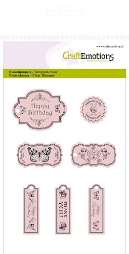 CraftEmotions: Clear Stamp A6; Botanical, Labels