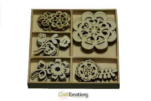 CraftEmotions: Houten ornamenten 25 pcs; Folklore Flowers