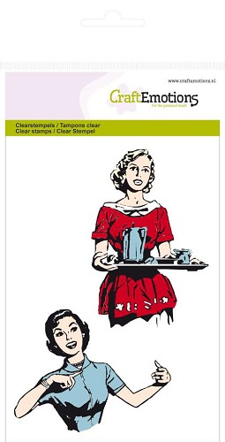 CraftEmotions: Clear Stamp A6; Fifties Kitchen, 2 ladies