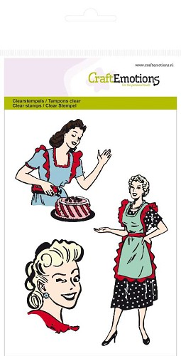 CraftEmotions: Clear Stamp A6; Fifties Kitchen, 3 ladies