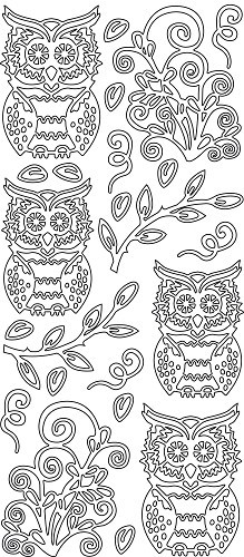 JeJe sticker:  Owls Leaf