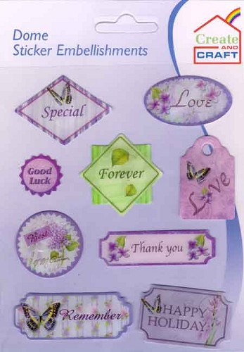Dome Sticker Embellishments: Text Labels