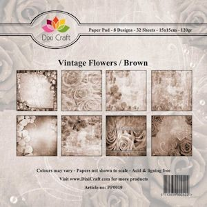 Dixi: Paper Pack 15 x 15; Vintage Flowers, Brown
