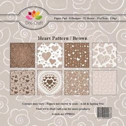 Dixi: Paper Pack 15x15 Brown Heart Pattern