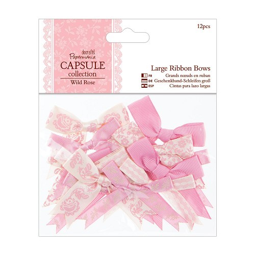 DC: Large Ribbon Bows 12 pcs; Wild Rose