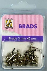NS: 40 x Floral Brads 3mm; Silver