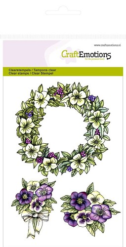 Craft Emotions: Clearstamp A6; Bloemenkrans Purple Holiday