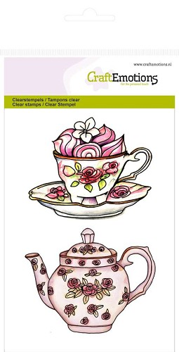 Craft Emotions: Clearstamp A6; High Tea Rose, Theepot, kop en schotel
