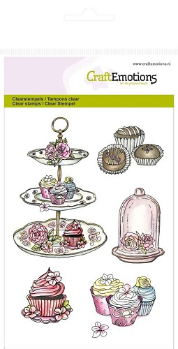 Craft Emotions: Clearstamp A6; High Tea Rose, Lekkernij
