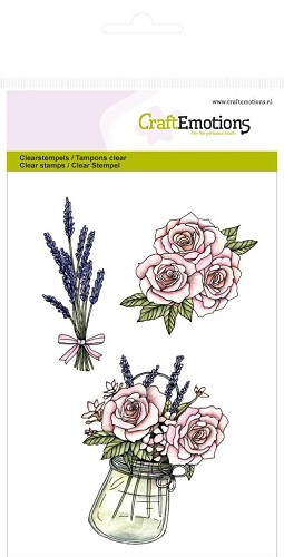 Craft Emotions: Clearstamp A6; High Tea Rose, Rozen en lavendel