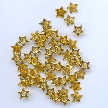 H&C: eyelet; Star 8 mm, 50 stuks gold