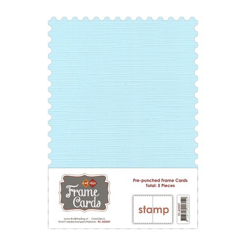 Frame Cards A5: 5 pcs Stamp; Babyblauw