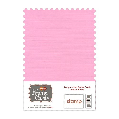 Frame Cards A5: 5 pcs Stamp; Roze