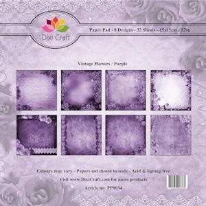 Dixi Paper Pack 15x15 cm Vintage Flowers; PURPLE