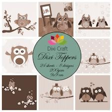 Dixi Mini toppers set 9x9 cm owls sepia