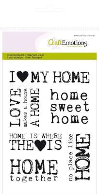 CraftEmotions: Clearstamp A6; Achtergrond Home sweet Home