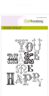 CraftEmotions: Clearstamp A6; Achtergrond You make me happy