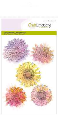CraftEmotions: Clearstamp A6; Botanical Summer, Chrysanten