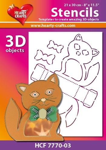 Hearty Crafts DESIGN Stencil: 3D Kat
