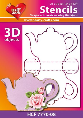 Hearty Crafts DESIGN Stencil: 3D Theepot
