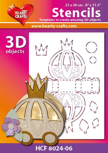 Hearty Crafts DESIGN Stencil: 3D Trouwkoets