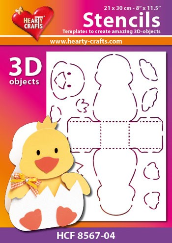 Hearty Crafts DESIGN Stencil: 3D Kuiken