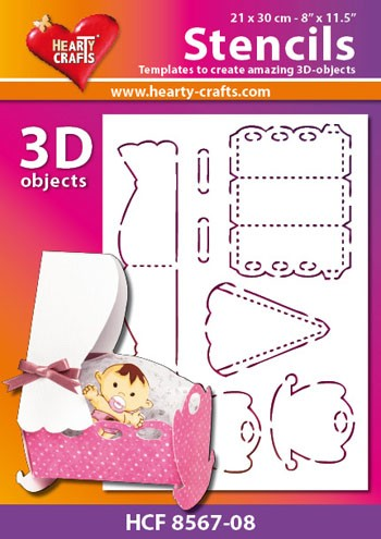 Hearty Crafts DESIGN Stencil: 3D Wieg