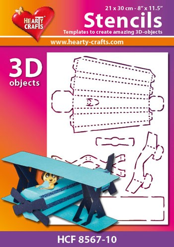 Hearty Crafts DESIGN Stencil: 3D Vliegtuig