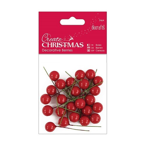DC: 24 x Decorative Berries; RED
