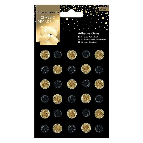 Forever Friends: Classic Decadence; 30 x Adhesive Gems, Black and Gold