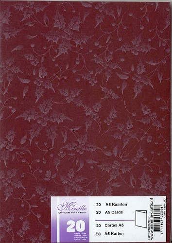 Mireille: A5 kaarten; Christmas Holly, Maroon