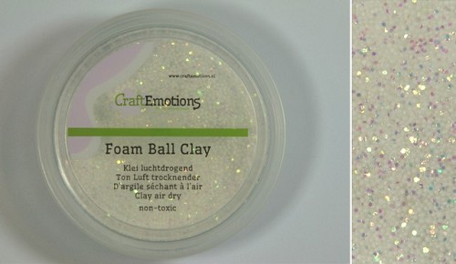 Foamball clay - luchtdrogende klei - wit glitter 30 gr
