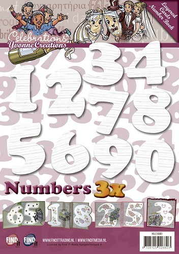 Yvonne Creations: Celebrations; Layerd Frame Cards, Numbers