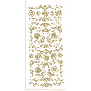 CM: sticker; Corners Flowers, gold
