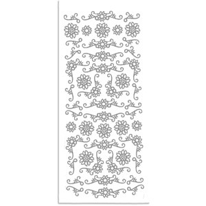 CM: sticker; Corners Flowers, Silver