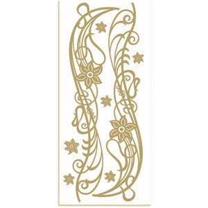 CM: sticker; Floral, Gold
