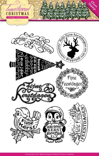 Yvonne Creations: Tradional Christmas; Cler Stamp TEKST