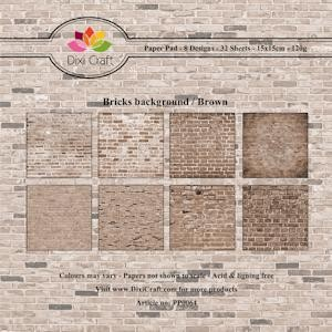 Dixi Paper Pack: 15x15; Bricks Background, Brown