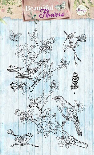 SL: Beautiful Flowers; Clear stamp, Vogels en bloesem