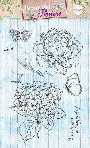 SL: Beautiful Flowers; Clear stamp, Vogel, bloem en vlinders