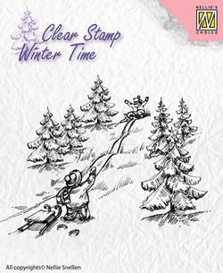 NS: Clear stamp; Winter Time, Sledge Fun