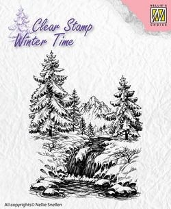 NS: Clear stamp; Winter Time, Winter Waterfall