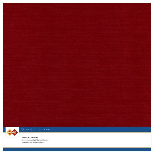 CD-LinenArt: 10 x Linnenkarton 305 x 305 mm; 240 grs, Bordeaux