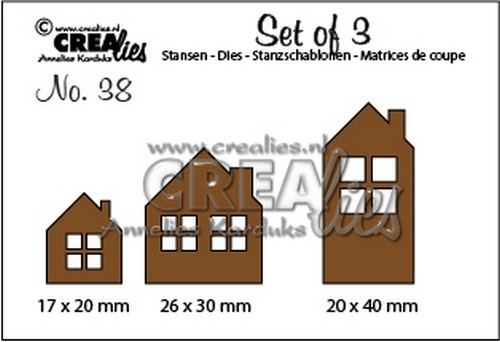 Crealies: Set of 3 - 38; Huisjes